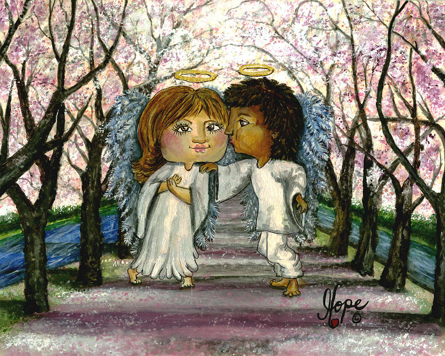 Angel Painting - Guardian Angel Love by Carolyn Hope