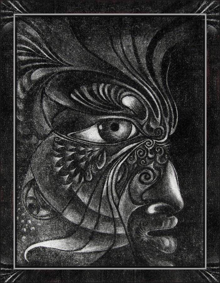 Mezzotint Drawing - Guardian Cherub by Otto Rapp
