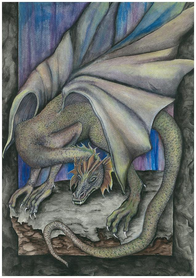Dragon Painting - Guardian Dragon by Sally Balfany