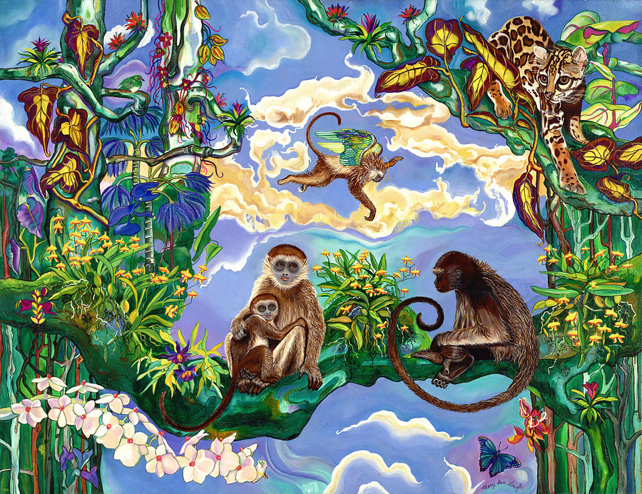 Wildlife Painting - Guardian Monkey by Mary Ann Gough