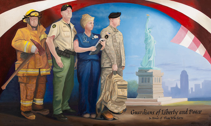 Guardians Painting - Guardians Of Liberty And Peace by Michael Wilson