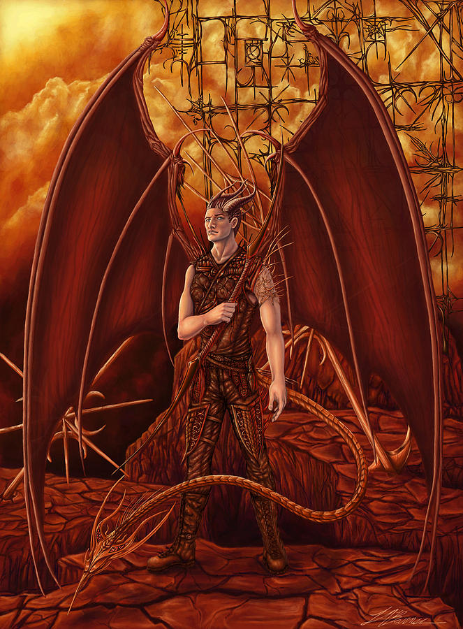 Demon Painting - Guarding The Gates Of Hell by Tiffani Barner