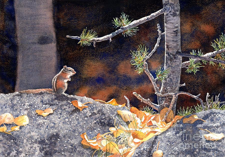 Chipmunk Painting - Guarding The Gold by Lorraine Watry