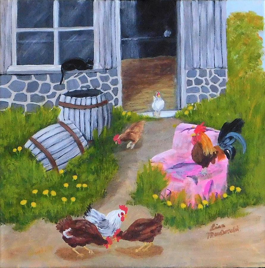 Chickens Painting - Guarding the Hen House by Lisa MacDonald