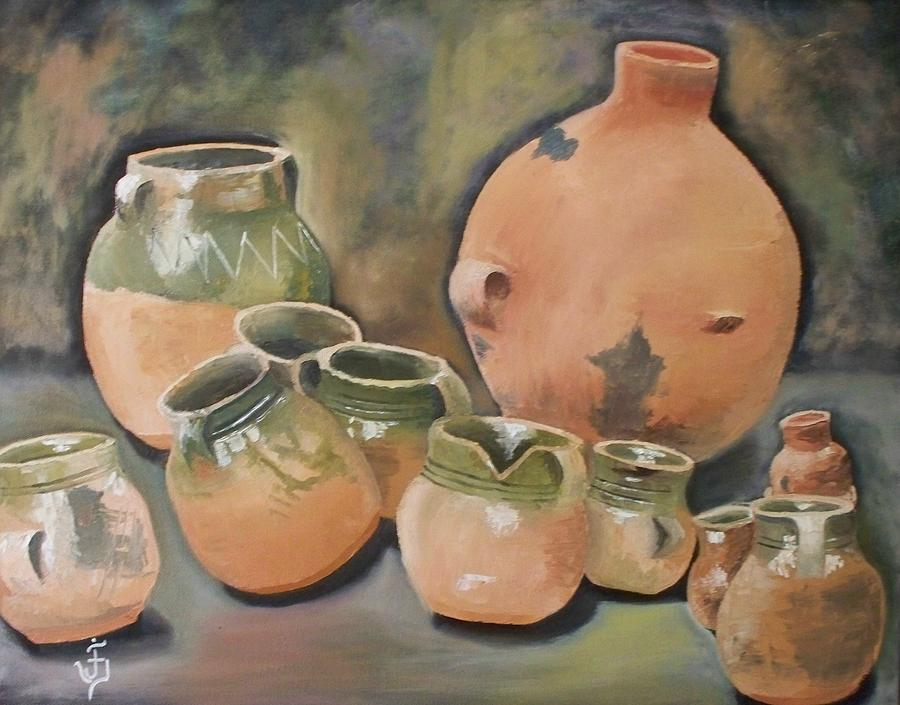 Still Life Painting - Guatemala Ceramic Pots  by Jose Velasquez