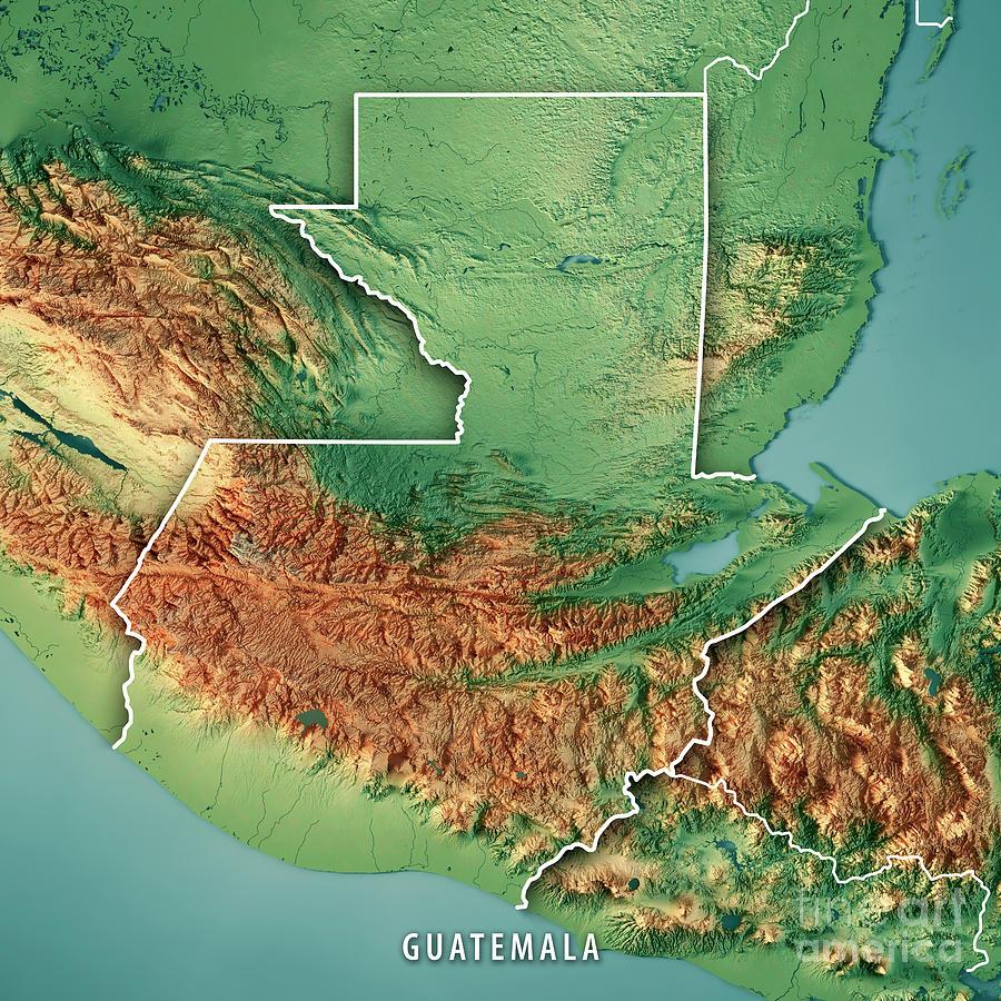 topographic map of guatemala Guatemala Country 3d Render Topographic Map Border Digital Art