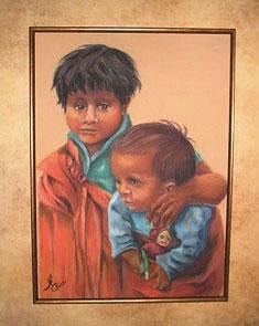 Native American Children Painting - Guatemalan Brothers by Margaret A Clark Price