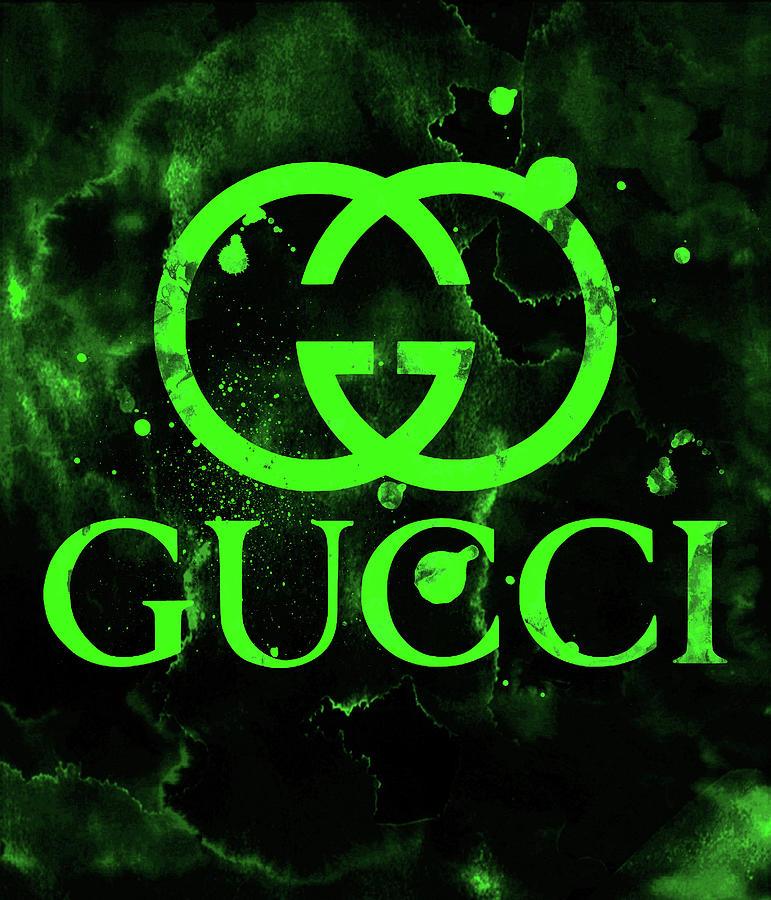 Gucci Logo Green 1 Digital Art by Del Art