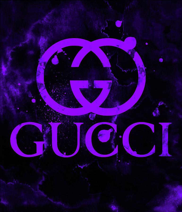 Gucci Logo Purple 7 Digital Art By Del Art