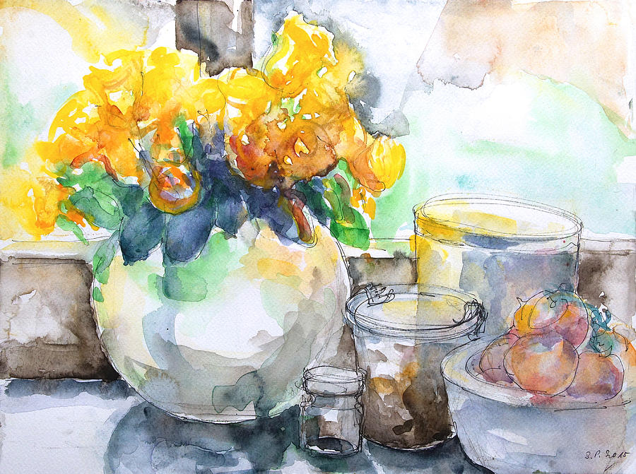 Still Life Painting - Gudruns Kitchen Window by Barbara Pommerenke