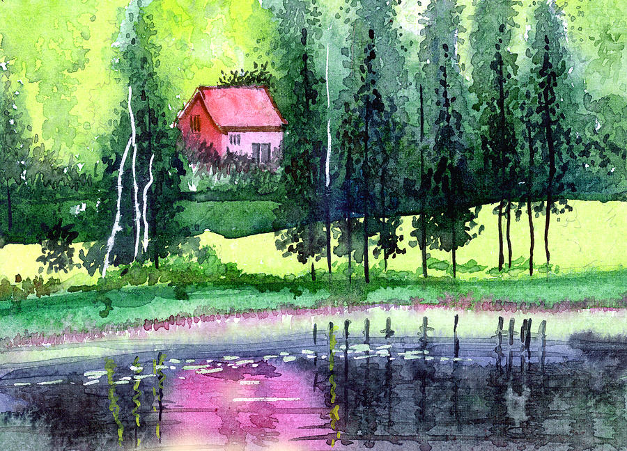 Landscape Painting - Guest House by Anil Nene