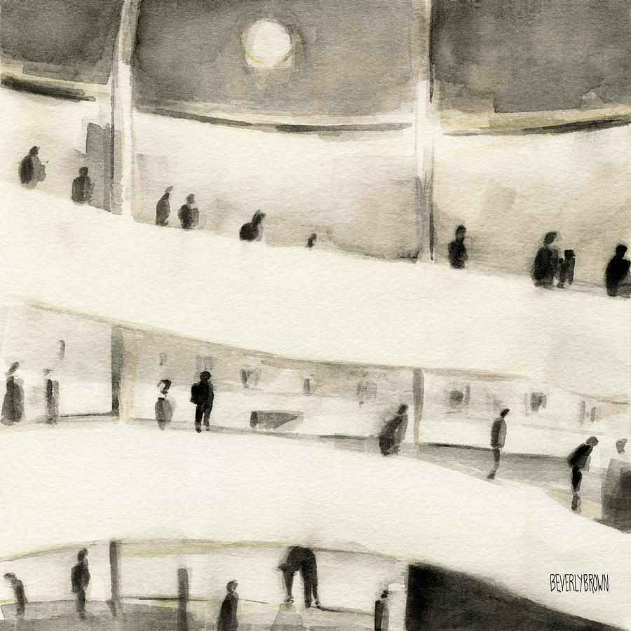 New York Painting - Guggenheim Inside by Beverly Brown