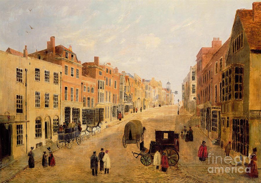 Guildford Painting - Guildford High Street by English School