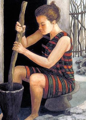 Africa Painting - Guinea Girl by Nancy  Ethiel