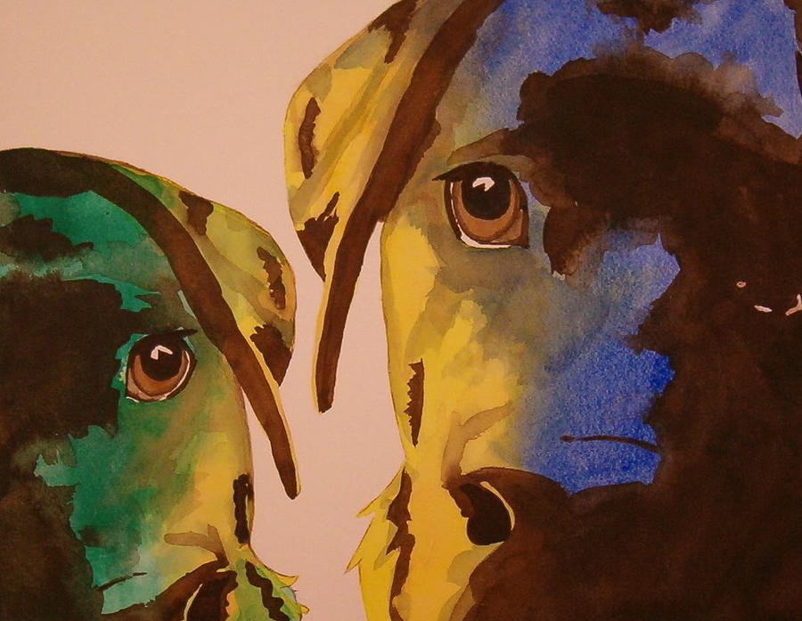 Labrador Painting - Guiness Green And Bella Blue by Lynn Babineau