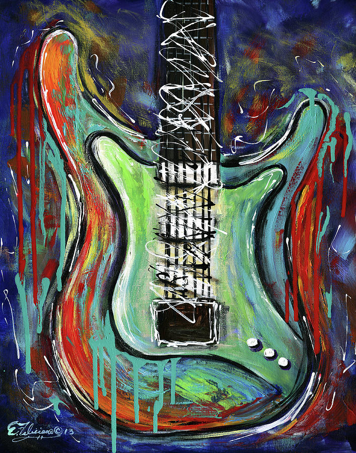 guitar abstract painting by elena feliciano. Black Bedroom Furniture Sets. Home Design Ideas