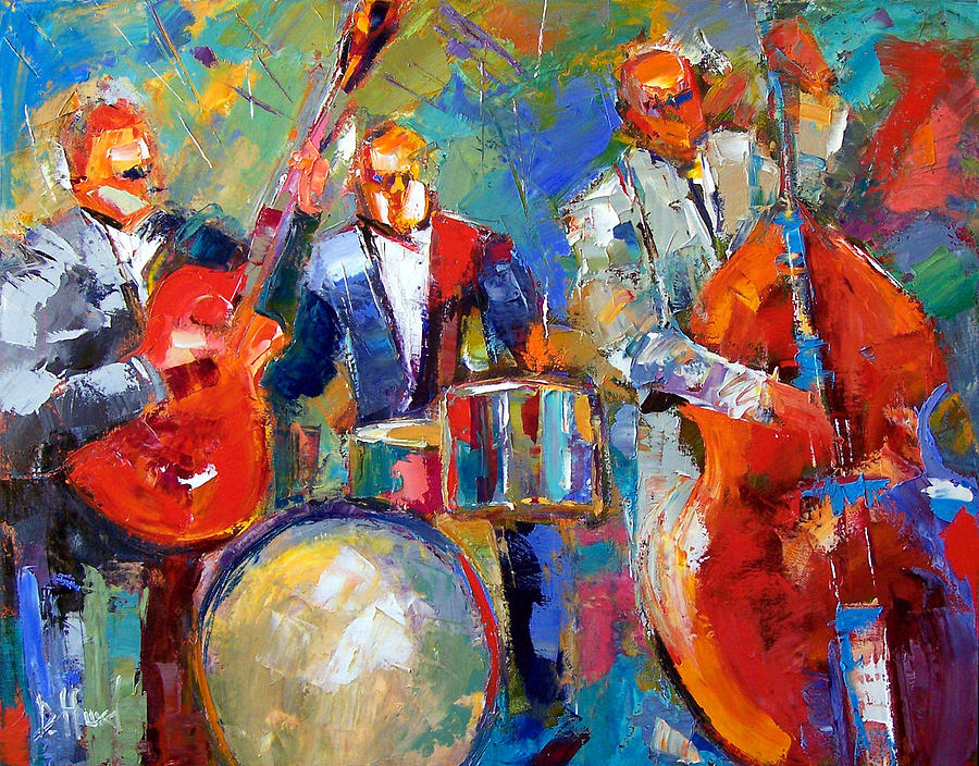 Guitar Drums and Bass Painting by Debra Hurd