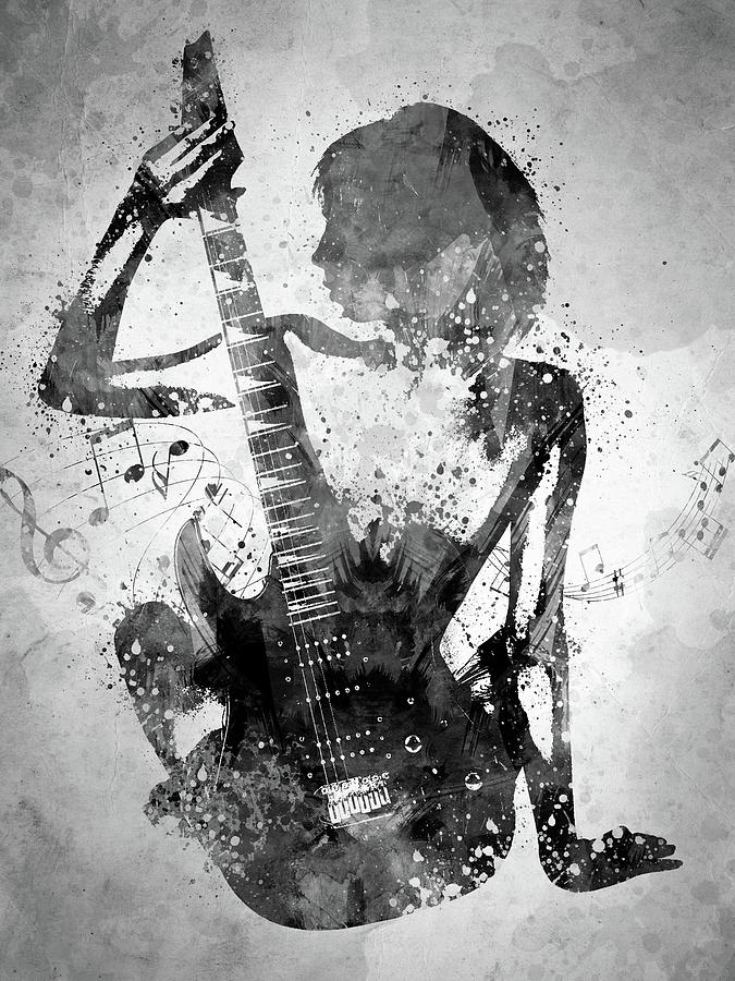 Guitar Digital Art - Guitar Girl Black And White by Aged Pixel