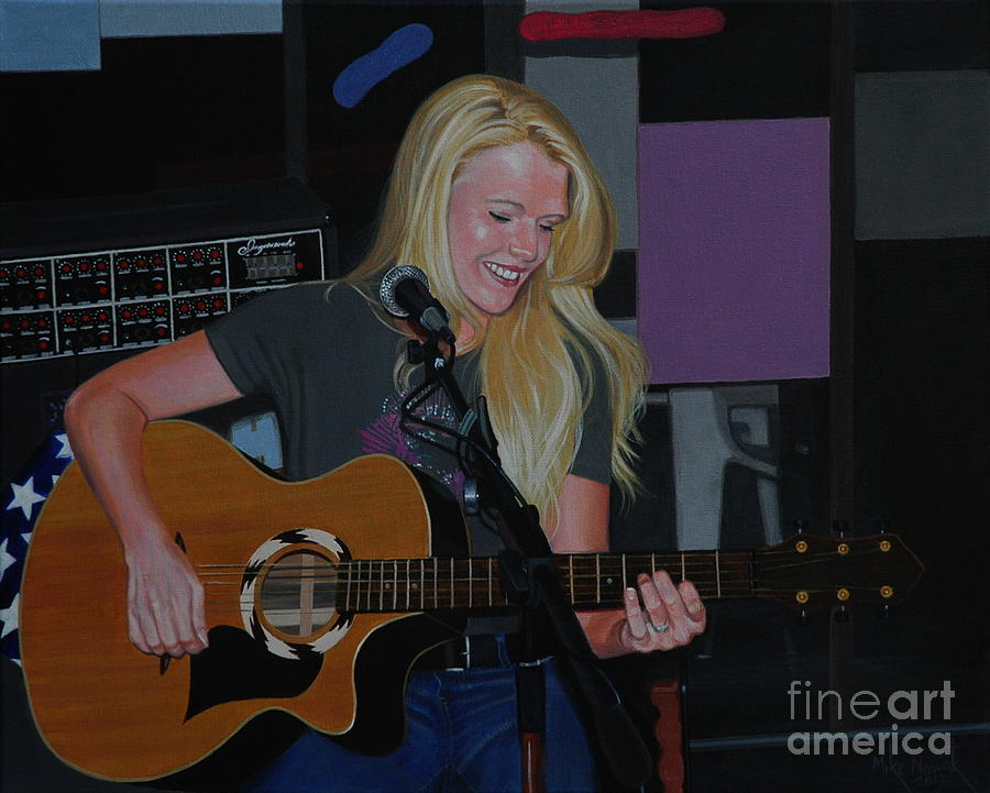 Guitar Painting - Guitar Girl by Michael Nowak