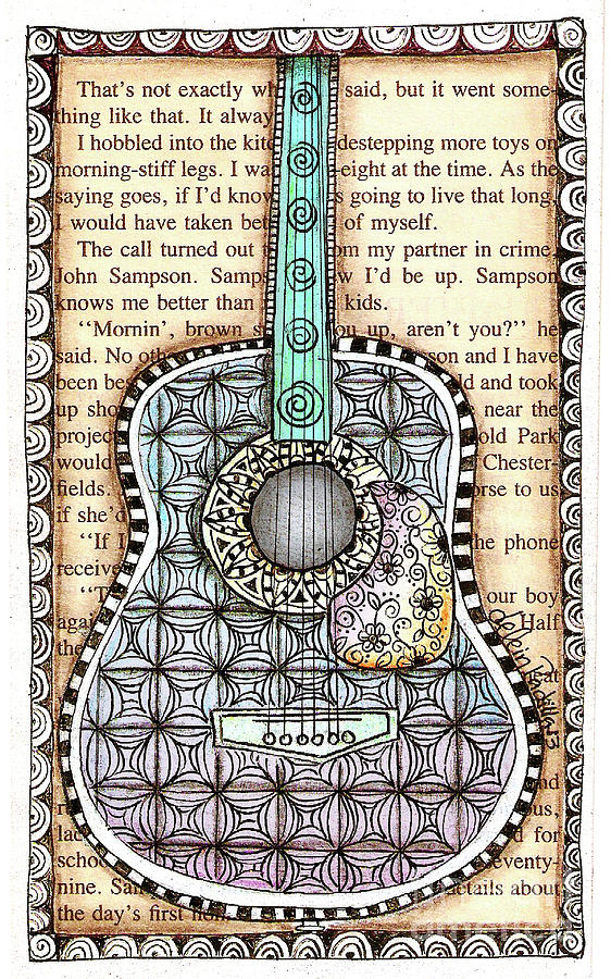 White Drawing - Guitar In A Book by Delein Padilla
