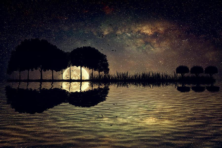 Guitar Island Moonlight Digital Art