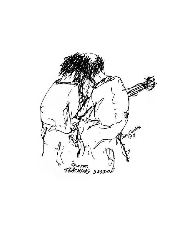 Music Teacher Drawing - Guitar Lesson by Sam Chinkes