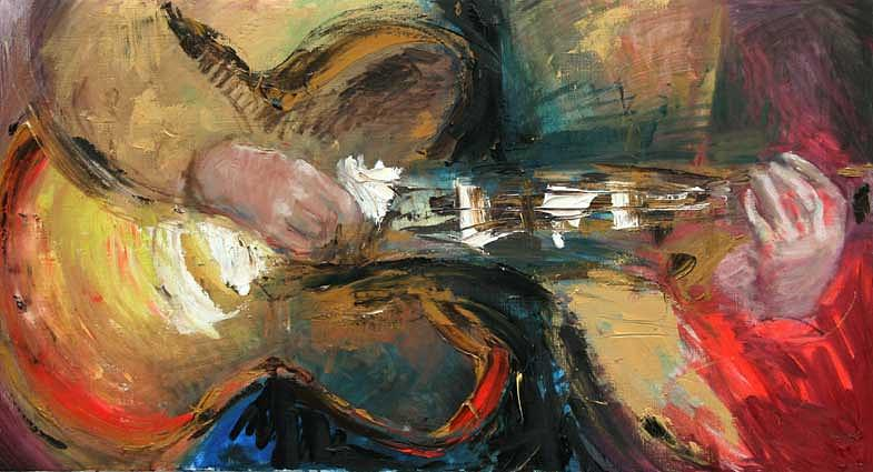 Jazz Painting - Guitar by Piret Rohusaar