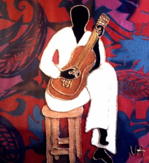 Music Painting - Guitar Player by Valerie X Armstrong