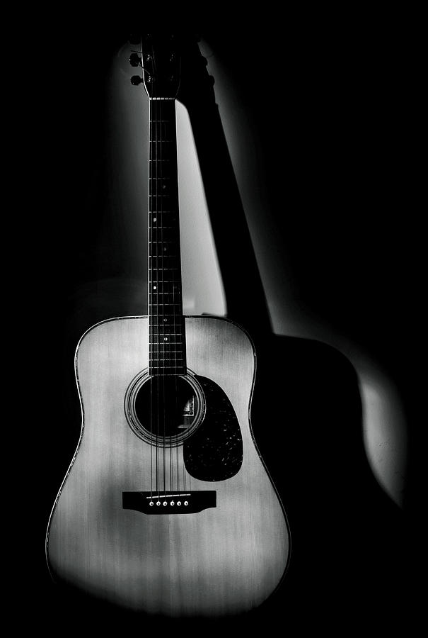 Guitar Shadows Black and White Photograph by Terry DeLuco