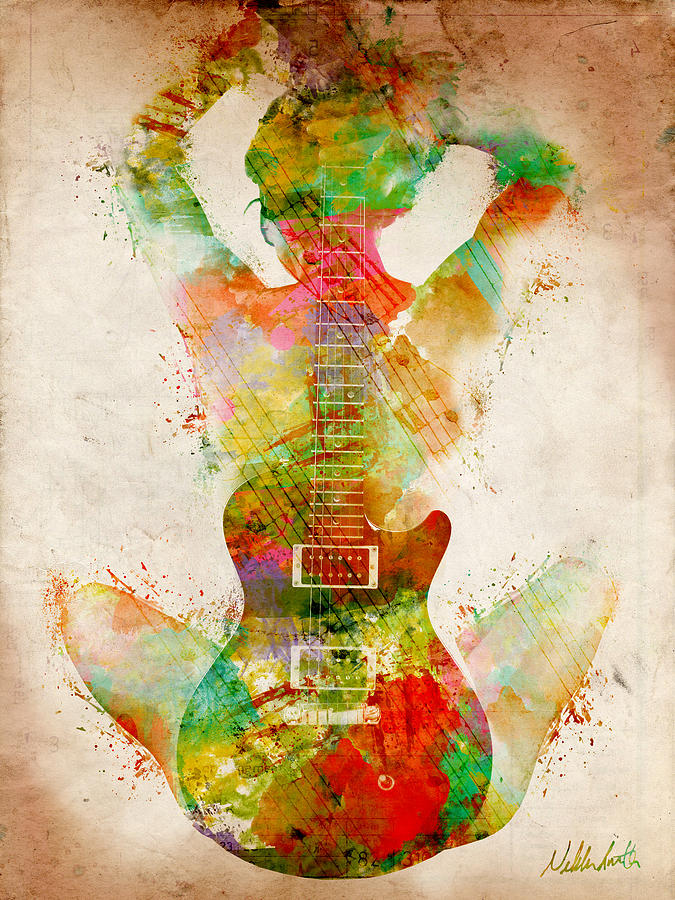Guitar Digital Art - Guitar Siren by Nikki Smith