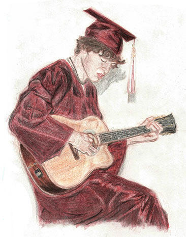 Guitarist Drawing - Guitarist Friend by Nicole Uhing