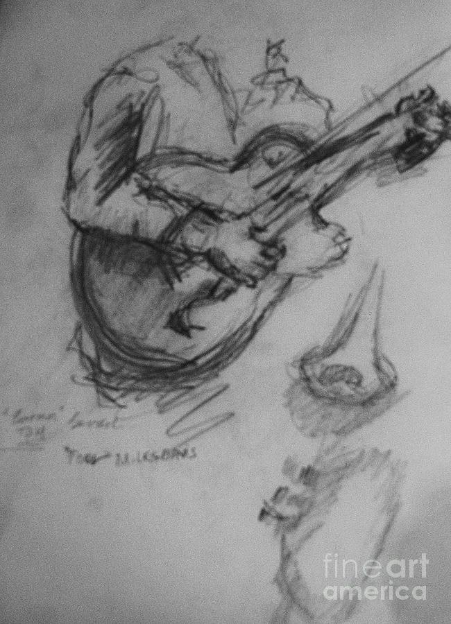 Guitarist Drawing by Jamey Balester