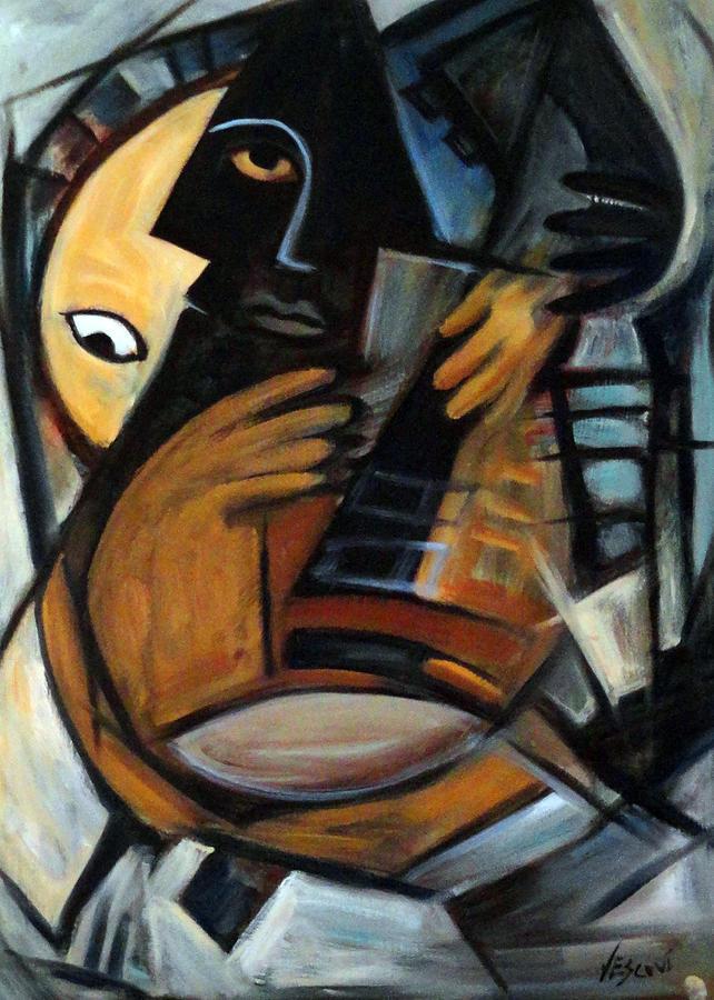 Cubism Painting - Guitarist by Valerie Vescovi