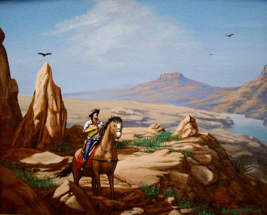 Cowboy Painting - Guitarman 2 by David  Larcom