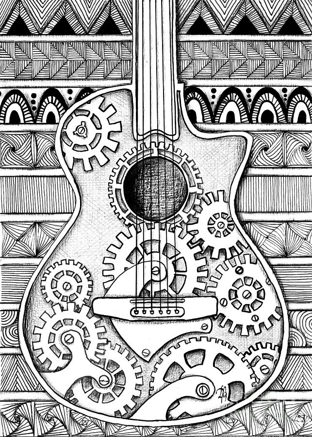 Zentangle Drawing - Guitarra No 2 by Delein Padilla