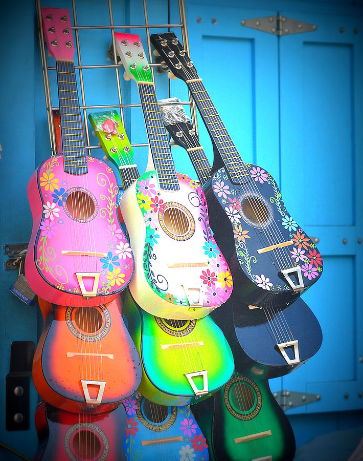Mexican Guitars Photograph - Guitarras Floriadas by Kimberly-Ann Talbert