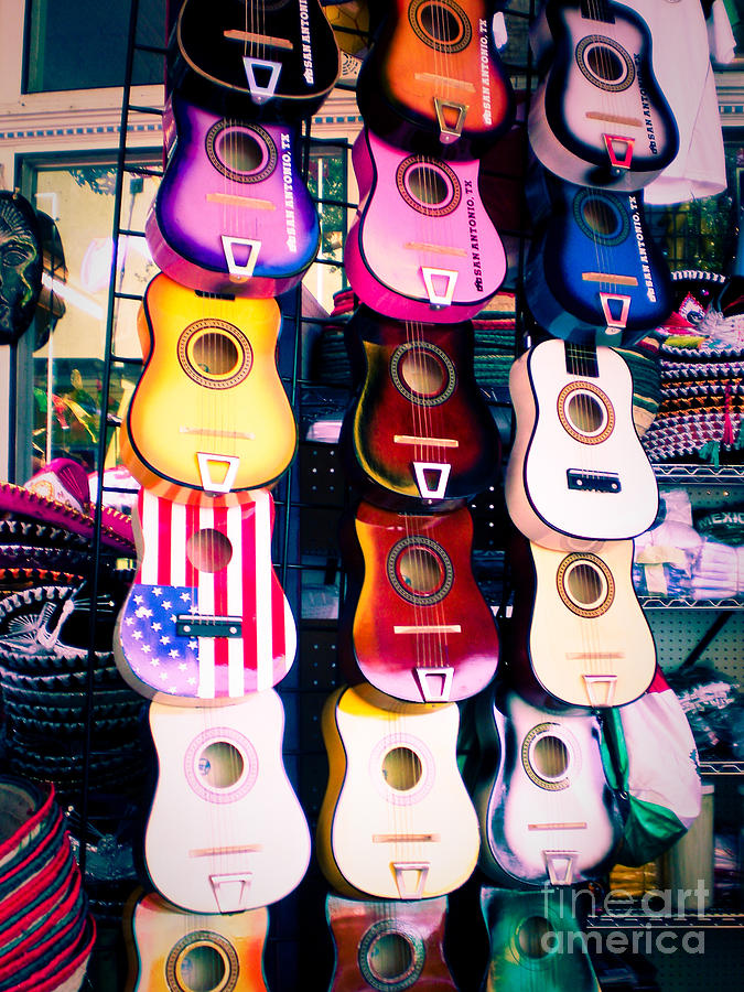 San Antonio Photograph - Guitars In San Antonio Market by Sonja Quintero