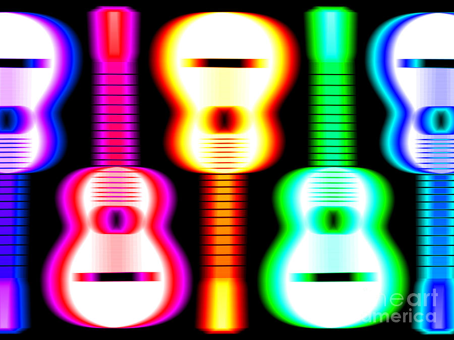Acoustic Guitar Drawing - Guitars On Fire 3 by Andy Smy