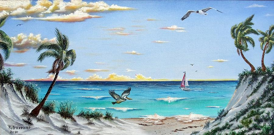 Blue Painting - Gulf Beach Pathway by Riley Geddings