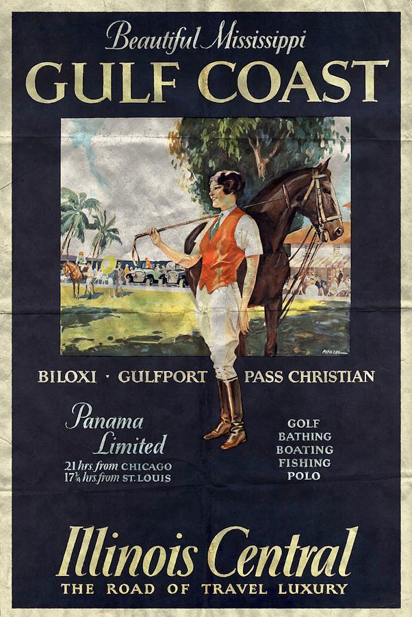 Vintage Poster Mixed Media - Gulf Coast - Illinois Central - Vintage Poster Folded by Vintage Advertising Posters