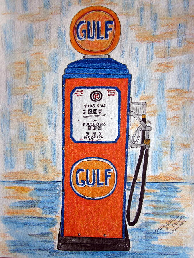 Vintage Painting - Gulf Gas Pump by Kathy Marrs Chandler