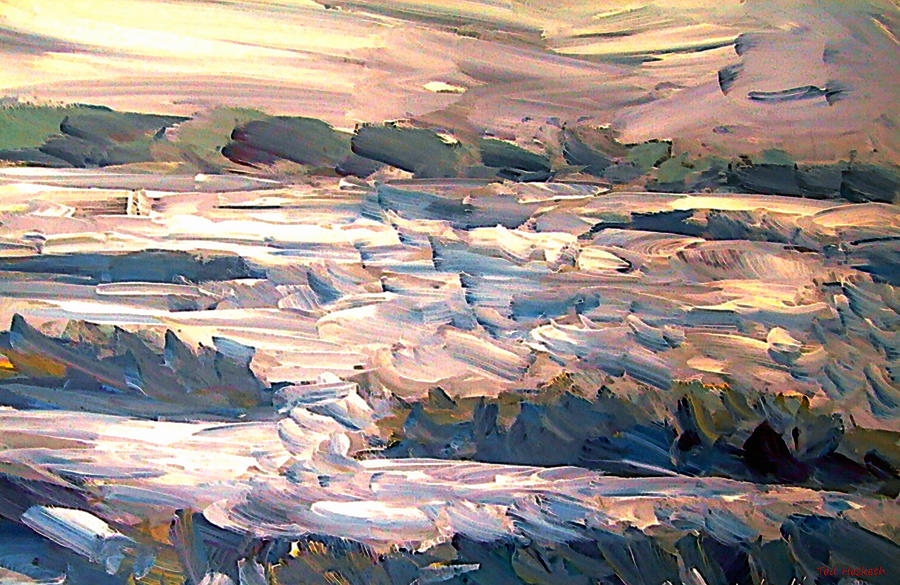Abstract Mixed Media - Gulf Island Sunset by Ted Hesketh