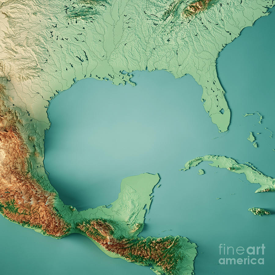 Caribbean Topographic Map.Gulf Of Mexico 3d Render Topographic Map Color Digital Art By Frank