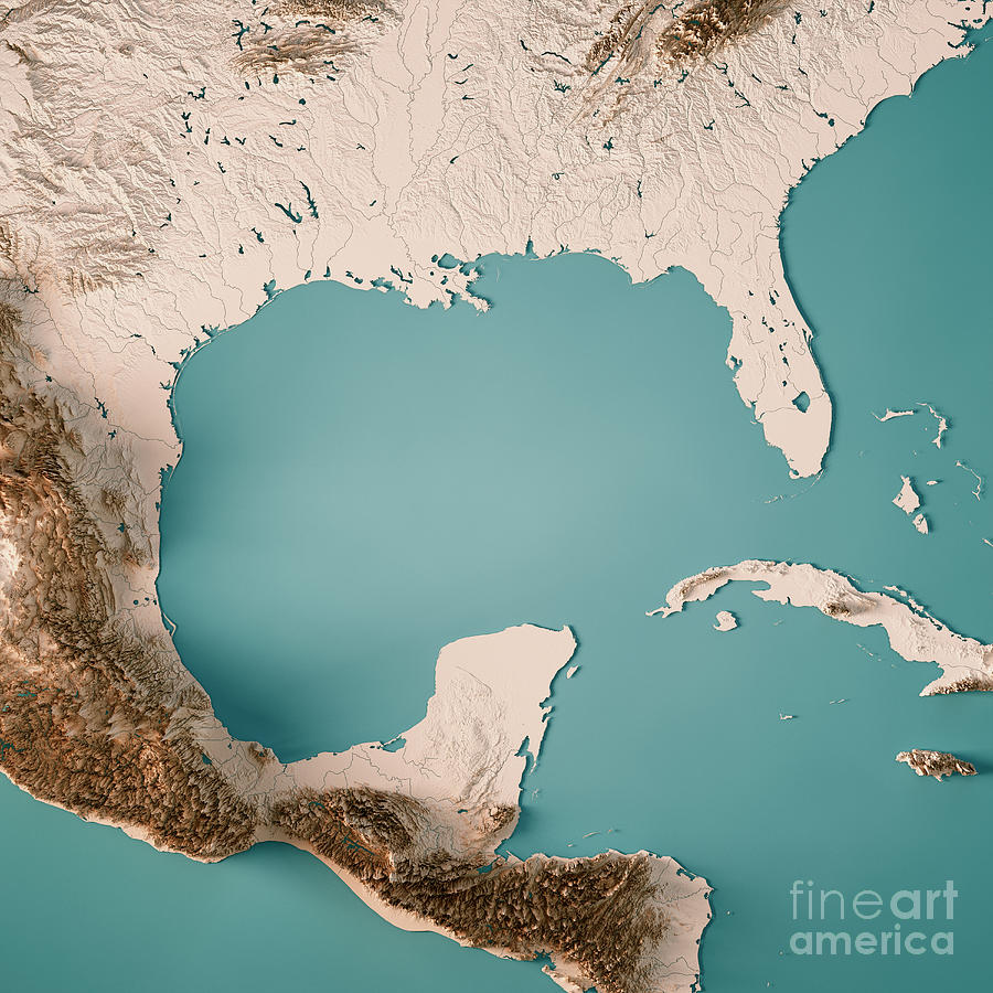 Gulf Of Mexico 3d Render Topographic Map Neutral