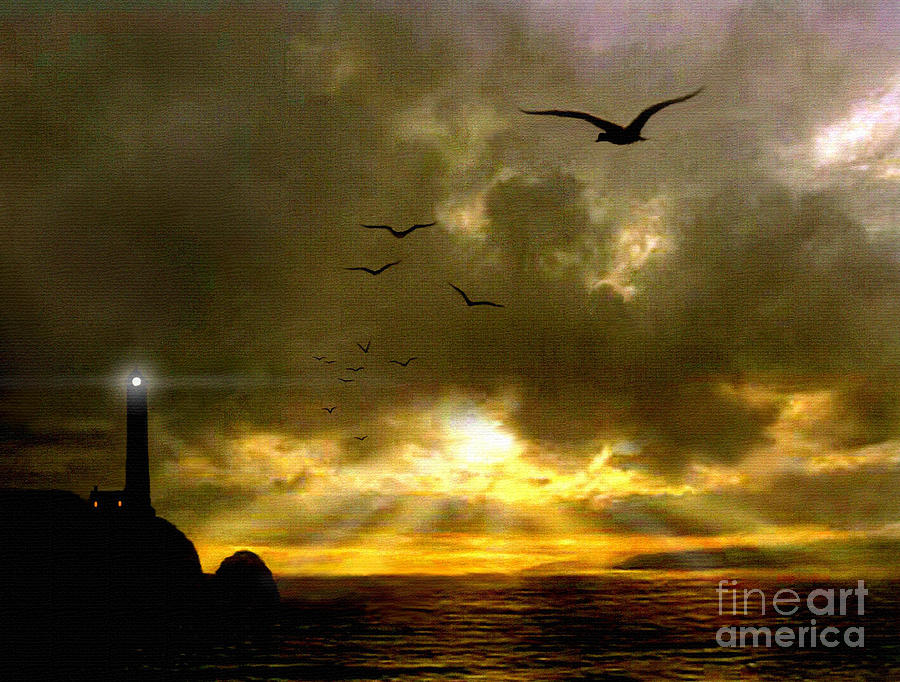 Seascape Painting - Gull Flight by Robert Foster