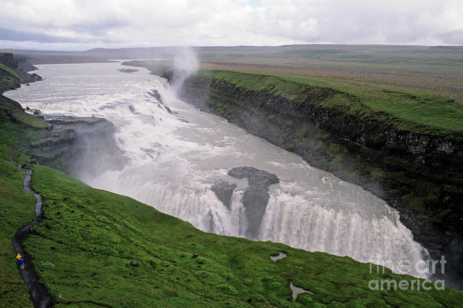 Background People Photograph - Gullfoss A Powerful Waterfall In The Canyon Of The Hvita River by Sami Sarkis