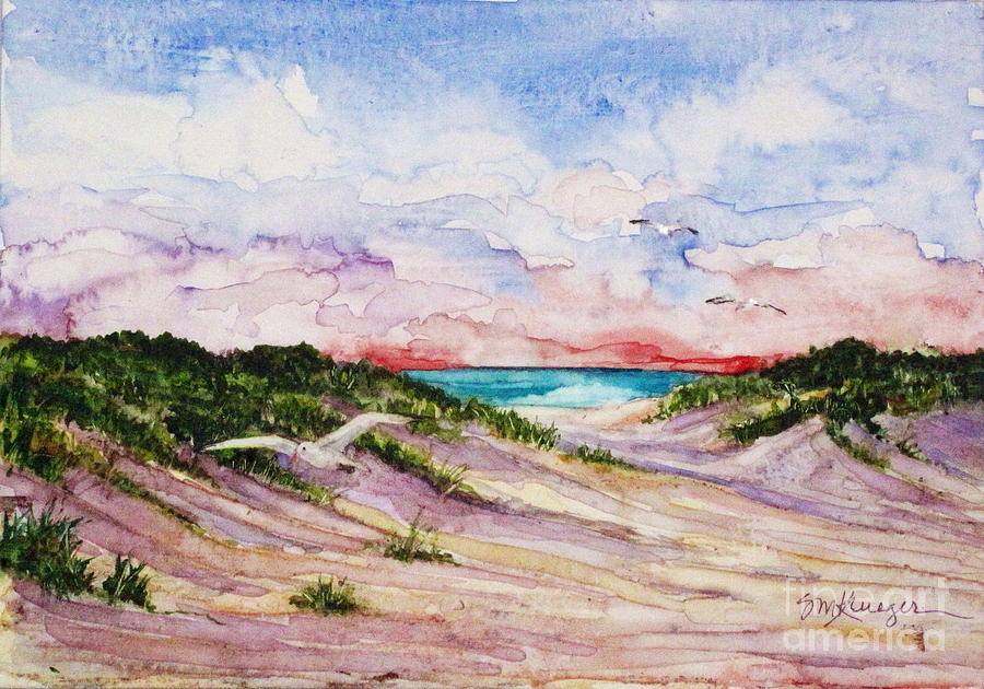 Sea Gulls Painting - Gulls And Dunes by Suzanne Krueger