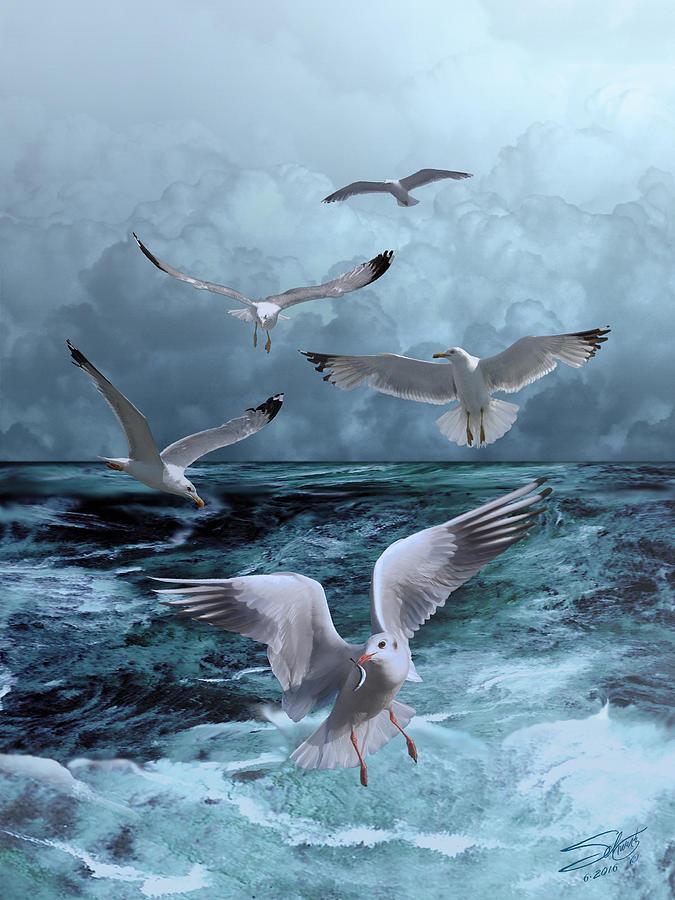 Birds Painting - Gulls Banquet by M Spadecaller