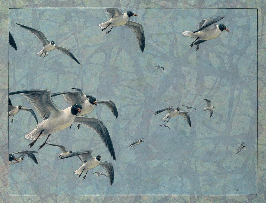 Gulls Painting - Gulls by James W Johnson
