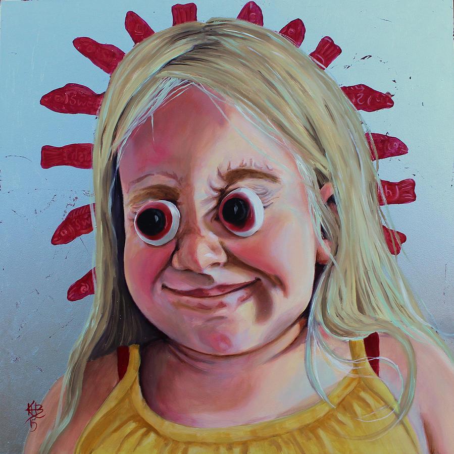 Portrait Painting - Gummy Eyes Swedish Fish by Kirsten Beitler